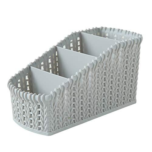 Yardwe Cestas de almacenamiento 4 cuadrículas Cestas de almacenamiento de escritorio de ratán Contenedores de contenedores...