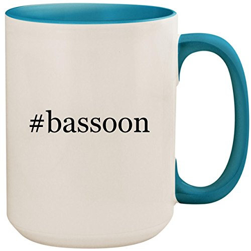 Concerto Coffee Gift (#bassoon - 15oz Ceramic Colored Inside and Handle Coffee Mug Cup, Light Blue)