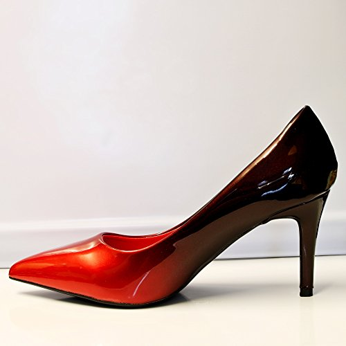 Two Shoes Tone Court Size High Patent Women Ladies Styles Evening 6621 on Party Heel Rock Red Mid OW1wqURYHx