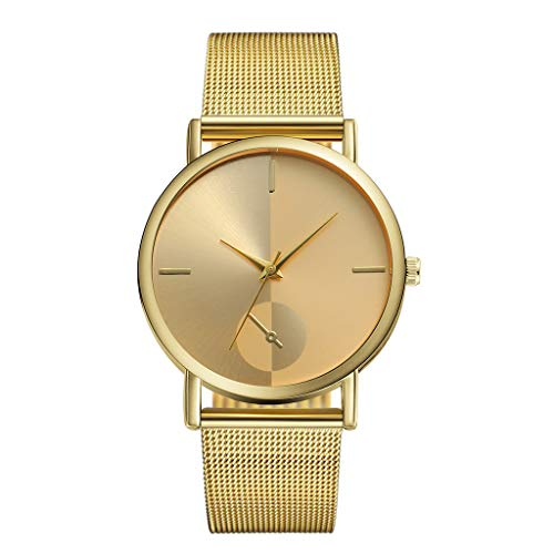 (Ladies Watches Stainless Steel Band Round Case Women Dress Watches Classic Quartz Rose Gold Watch Wristwatch Female Clocks by [Mollikar])