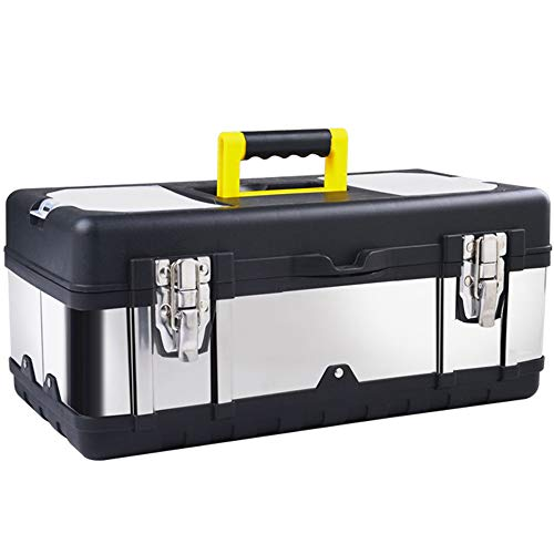 (16-inch Tool Box Stainless Steel Consumer Storage with Removable Tool Tray Organizer and Tool boxes for Tool or Craft Storage,Locking Lid and Extra Storage.)