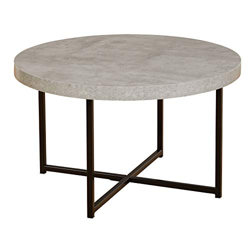 "TMS 46902GRY Era Series Contemporary Round Living Room Coffee Table, 31.5"" W, Gray"