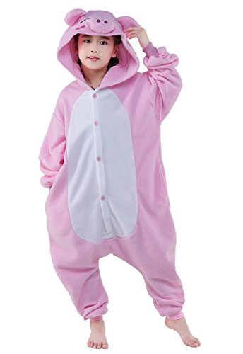[Halloween Unisex Kids Pajamas One Piece Cosplay Sleepwear Costume (S, Pink Pig)] (Little Pig Costumes)