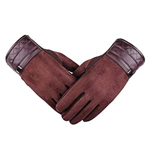 SGJFZD Men Gloves Workout Driving Gloves Riding Gloves Suede Warm Gloves Thermal Gloves (Color : Brown, Size : OneSize)