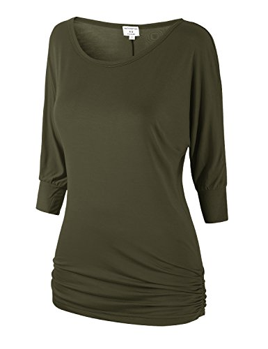 - Match Women's 3/4 Sleeve Drape Top with Side Shirring(140 Army Green,XX-Large)