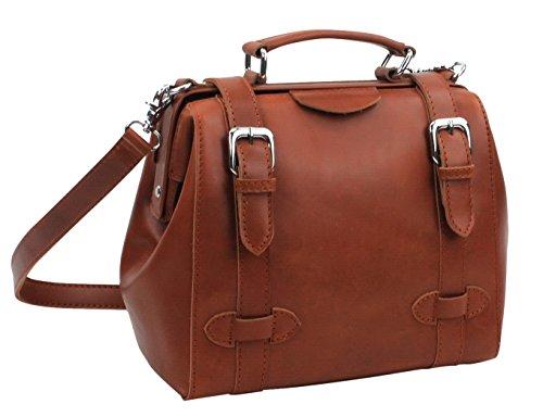 """10.5"""" Cowhide Leather Satchel Handbag Ls12. Brown"""