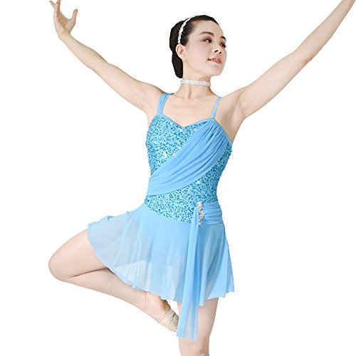 MiDee Contemporary Costume Lyrical Dance Dress Sequins Sweetheart Neck with Flies (SC, Blue)