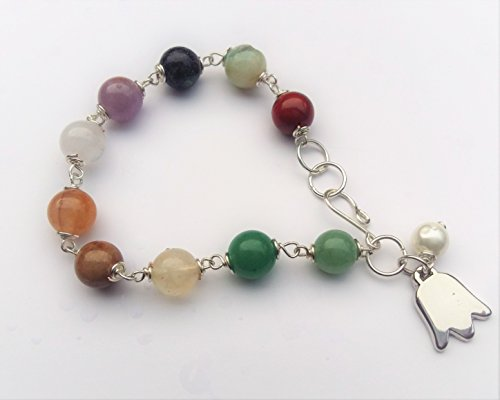 Beautiful Semi precious stones bracelet. Faceted multi color agate beads. Bracelet wrapped by hand with silver wire. Italian silver tulip charm and a small ()