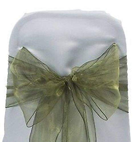 mds Pack of 50 Organza Chair sash Bow Sashes for Wedding and Events Supplies Party Decoration Chair Cover sash -Olive Green
