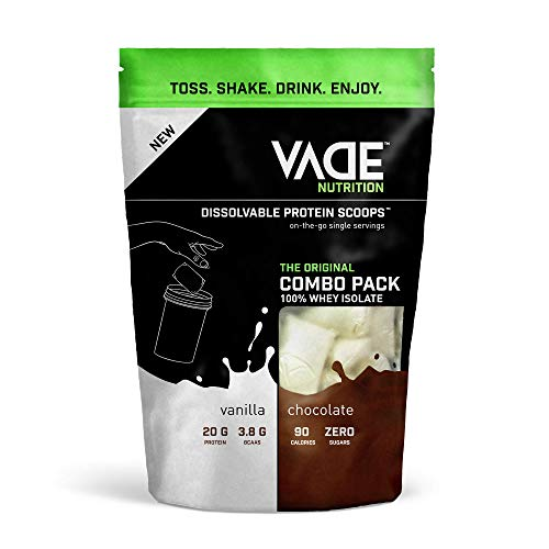 Vade Nutrition Dissolvable Protein Scoops | 100% Whey Isolate On-The-Go Precision Engineered Protein Powder (30 Servings, Combo (Vanilla & Chocolate))