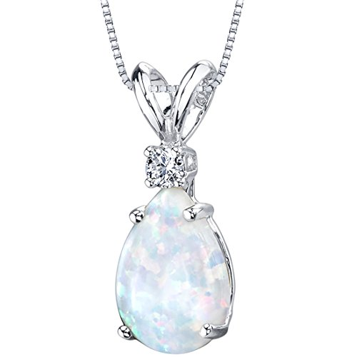 Opal White Gold Necklace (14 Karat White Gold Pear Shape Created Opal Diamond Pendant)