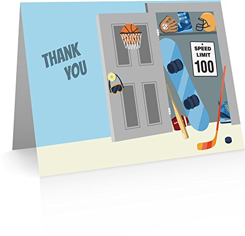 Sports Thank You Cards (24 Cards and Envelopes) Kids Thank You Cards by Little Notes by Comptime