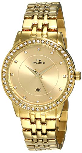 Maxima Analog Gold Dial Women's Watch-52441BALY