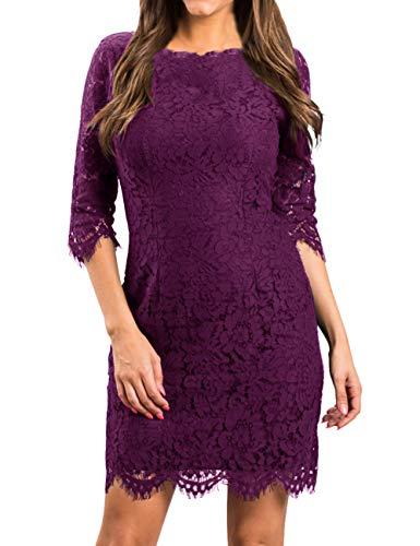 MEROKEETY Women's Elegant Lace Floral 3/4 Sleeve Cocktail Party Bodycon Dress (Wedding Party Dresses For Bride)