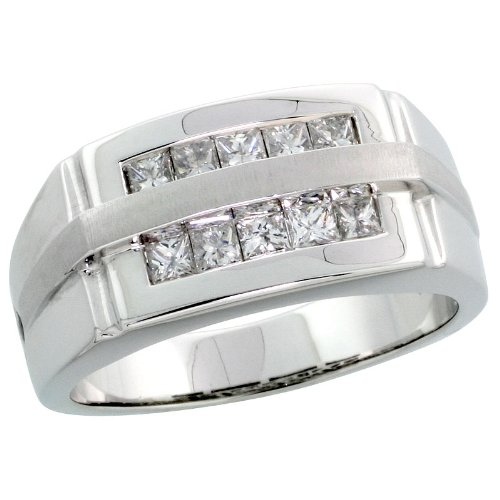 14k White Gold Satin Stripe Men's Comfort Fit Stone Ring, w/ 0.75 Carat Invisible Set Diamonds, 7/16 in. (11mm) wide, size 10.5 0.75 Ct Invisible Set