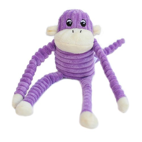 ZippyPaws Spencer the Crinkle Monkey Purple- Squeaky Plush D