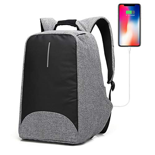 Anti-theft Backpack with USB Charging Port Business Laptop Backpack Fits to 15.6 Inch Computer Lightweight Water-resistant Knapsack Gray CB0402 (Apply For Student Credit Card With No Credit)