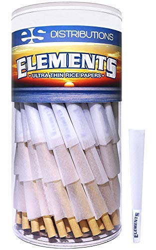 Elements Cones 1 1/4 Size | 150 Pack | Natural Pre Rolled Rice Rolling Paper with Tips and Packing Sticks Included (Cone Pre Rolled Rolling Paper)