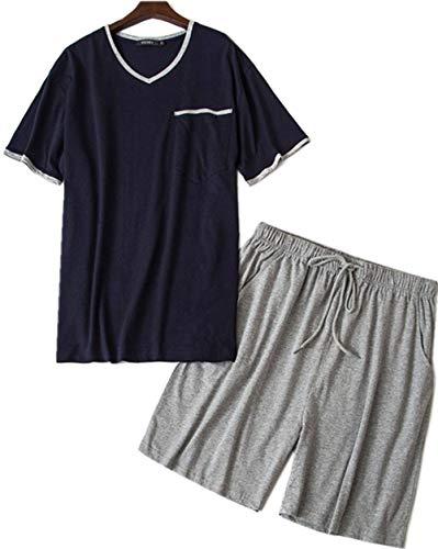 H-DSTORY Men's Cotton Short Sleeve Pajamas Set Summer Casual Short Sets Soft Sleepwear MDX01-Black ()