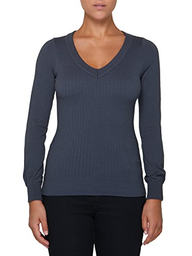 Italy V Made En Sensi' Pull Femme Encolure Longues Z Viscose Manches In Coutures Gris Laine Perspirant Seamless Sans UZOYXOq