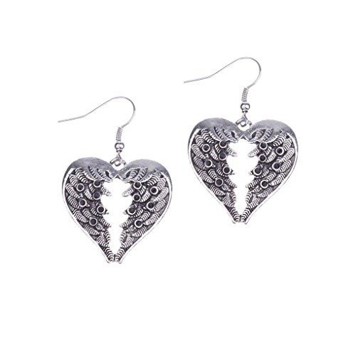 Jew: Fashion Bohemia Heart Long Water Drop Earrings Fine Jewelry Trendy Vintage Cute Boho Party Earrings Pendant (Tin Man Nose)