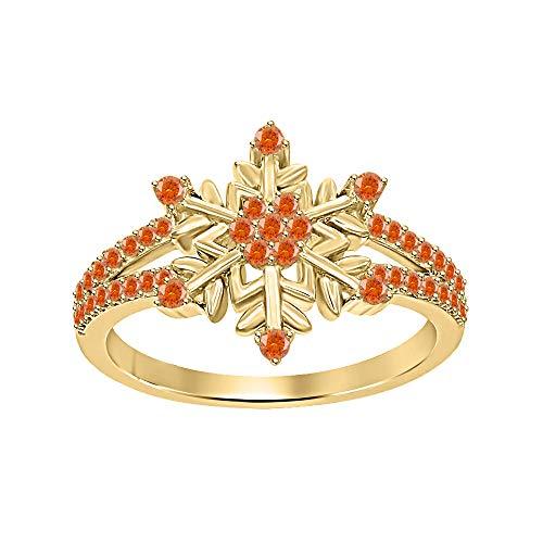 tusakha Beautiful 14K Yellow Gold Plated Round Orange Sapphire Split Shank Flower Design Snowflake Ring 925 Sterling Silver