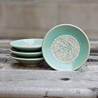 GEODE RING DISH: Individual Geode Ring Dish in SEAFOAM Fused Glass Dish, Trinket Dish, Soap Dish, Crackle Glass, Candle Holder, Dock 6 Pottery, Kerry Brooks Pottery