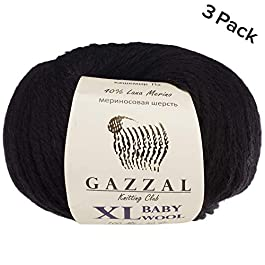 3 Pack (Ball) Gazzal Baby Wool XL Total 5.28 Oz / 328 Yrds, Each Ball 1.76 Oz (50g) / 109 Yrds (100m) Super Soft, Medium-Worsted Yarn, 40% Lana Merino 20% Cashmere Type Polyamide, Black-803