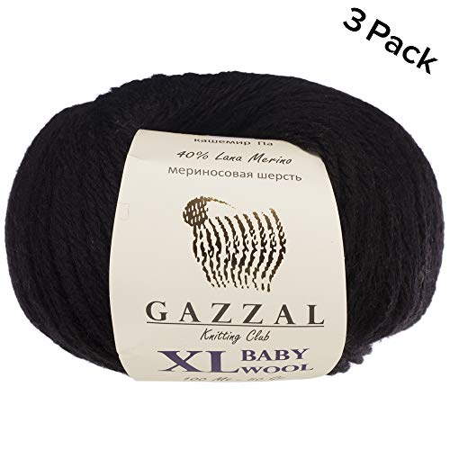 3 Pack (Ball) Gazzal Baby Wool XL Total 5.28 Oz / 328 Yrds, Each Ball 1.76 Oz (50g) / 109 Yrds (100m) Super Soft, Medium-Worsted Yarn, 40% Lana Merino 20% Cashmere Type Polyamide, Black-803