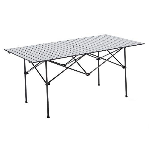 RORAIMA Easy Setup Compact Aluminum Camping Folding Party Table 120 Lbs Capacity Great Outdoor Camping, BBQ Party in Your Backyard Also Suitable Family 6-8 Product Size 60