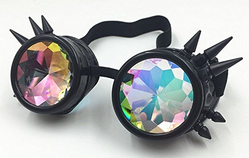 Glasses KING Vintage Spiked Steampunk Goggles Glasses With Elastic Band And Colored Diamond Lens - Retro Victorian… 3