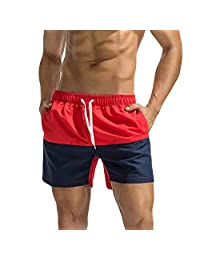 aiNMkm Men Swim Trunks with Mesh Lining, Fashion Quick Dry Beach Sports Surfing Swimming Short Pants