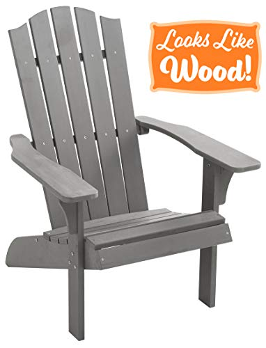PolyTEAK Element Faux Wood Poly Adirondack Chair, Gray | Adult-Size, Weather Resistant, Made from Special Formulated Poly Lumber Plastic (Chairs Gray Adirondack Plastic)