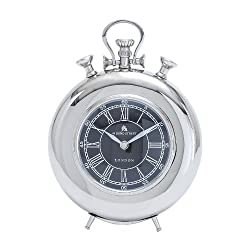 Deco 79 Metal Nickel Table Clock, 11 by 8-Inch