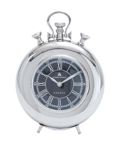Deco 79 Metal Nickel Table Clock, 11 by (Deco Desk Clock)