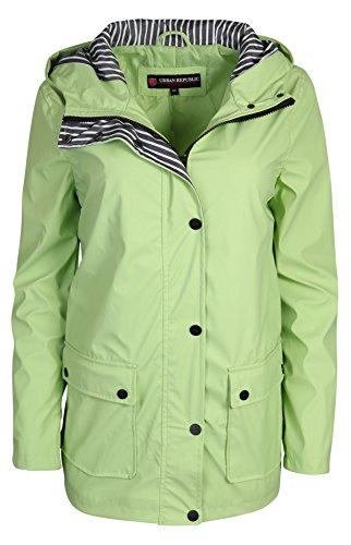 Urban Republic Women\'s Lightweight Hooded Raincoat Jacket, Minty Fresh, (Fully Lined Parka)