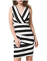 FDFAF Fashion Striped Dress Women Vintage Patchwork Contrast Color Wear to Work Office Stretch Bodycon Dress V-neck Sleeveless Vestidos 8878