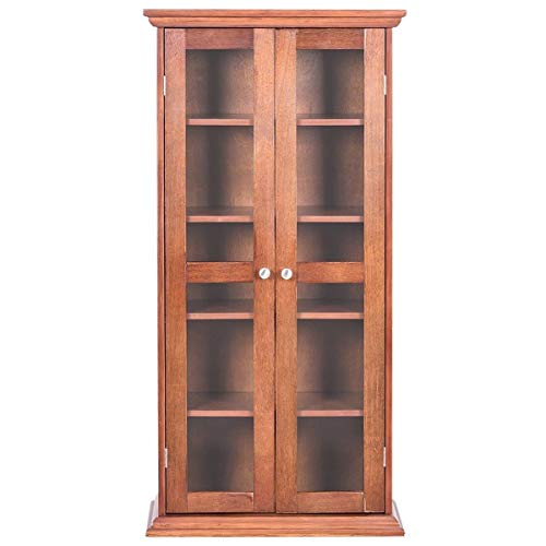 Moon Daughter Store Book Adjustable Tower DVD Cabinet Storage Shelves Double Glass Door Five Layers Antique Walnut Color