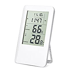 Woochy Digital Hygrometer Thermometer Humidity Gauge Thermo-hygrometer Indoor Air Monitoring with LCD Screen Alarm Clock for Home, Office and School
