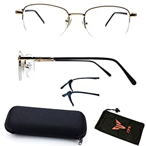 (#309) 1 Pair Nearsighted Myopia Lens Rectangular Shape Half Rimmed Metal Wired Optical Frameless Glasses (These Are Not Reading Glasses)