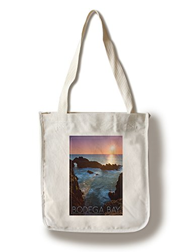 Bodega Bay, California - Rocky Cove and Sunset (100% Cotton Tote Bag - Reusable, Gussets, Made in America)