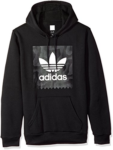 (adidas Originals Men's Skateboarding Blackbird Warp Print Hoodie, Black/Dark Solid Grey, L)