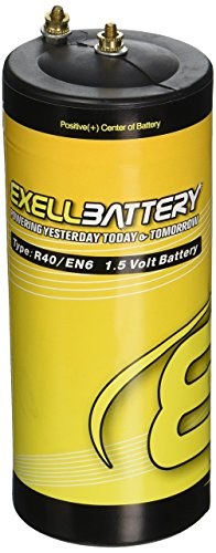 Dry Cell Battery (Exell Battery EB-R40 Zinc Carbon, Type R40 1.5V Battery, Replaces EN6, White/Silver)