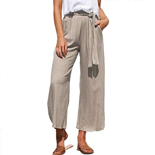 MOLFROA Womens Casual Crop Wide Leg Lace Up High Waisted Dress Pants with Fabric Belt (Khaki,S)
