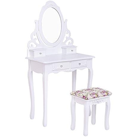 Giantex White Vanity Wood Makeup Dressing Table Stool Set W Mirror 4Drawers Rose Cushion