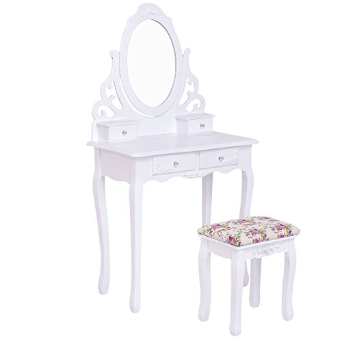 Giantex White Bathroom Vanity Dressing Table Set Mirror with Stool (Round Mirror 4 Drawers) (Mirrored Bedroom White Set)