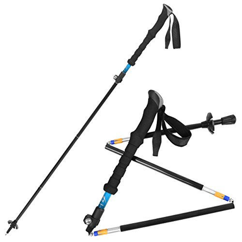 Bagail Ultralight Carbon Cork Trekking Poles - Foldable, Collapsible and Adjustable - Perfect for Hiking, Walking, Backpacking and Snowshoeing Blue