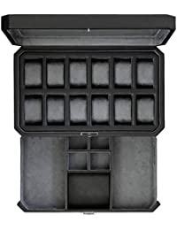 12 Slot Leather Watch Box with Valet Drawer - Luxury Watch Case Display Organizer, Microsuede liner, Locking Jewelry Watches Holder, Mens Storage Boxes Holder Large Glass Top (Black/Grey)