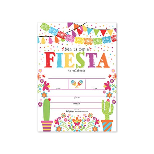 25 Taco Mexican Fiesta Cactus Party Invitations, Cinco De Mayo Quinceanera Pinata Twosday Theme Invites, Kids, Adult Birthday Baby or Bridal Shower, Gender Reveal Event Ideas Printable Card ()