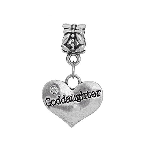 Heart Godmother (Goddaughter Heart Rhinestone Godmother Gift Dangle Charm for European Bracelets)